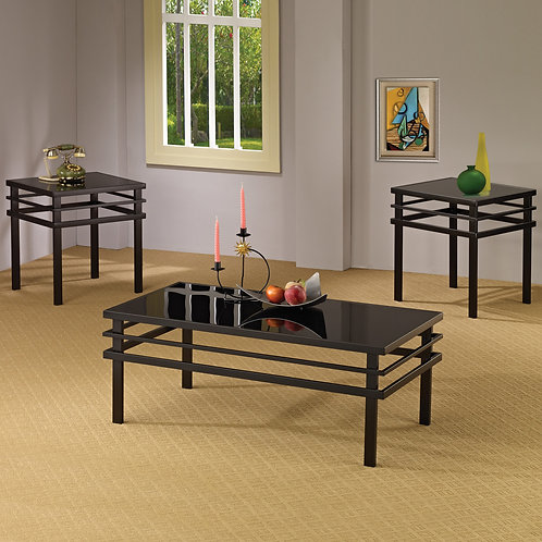 3pc. Black Glass Coffee & End Tables