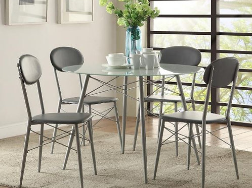 Black & Silver 5pc. Round Dinette Set