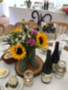 Sunflowers in Wellies Wedding Table Decorations