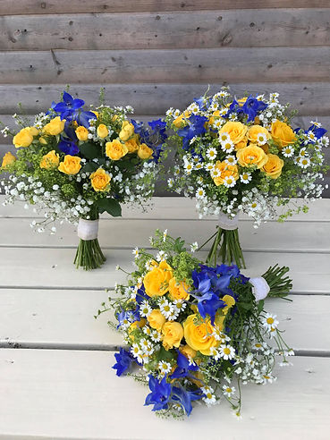 Striking Yellow & Purple Bouquets