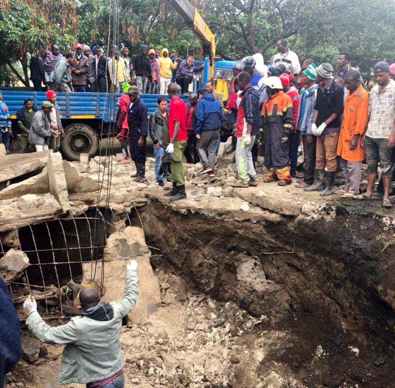 Collapsed pit latrine Seliani school