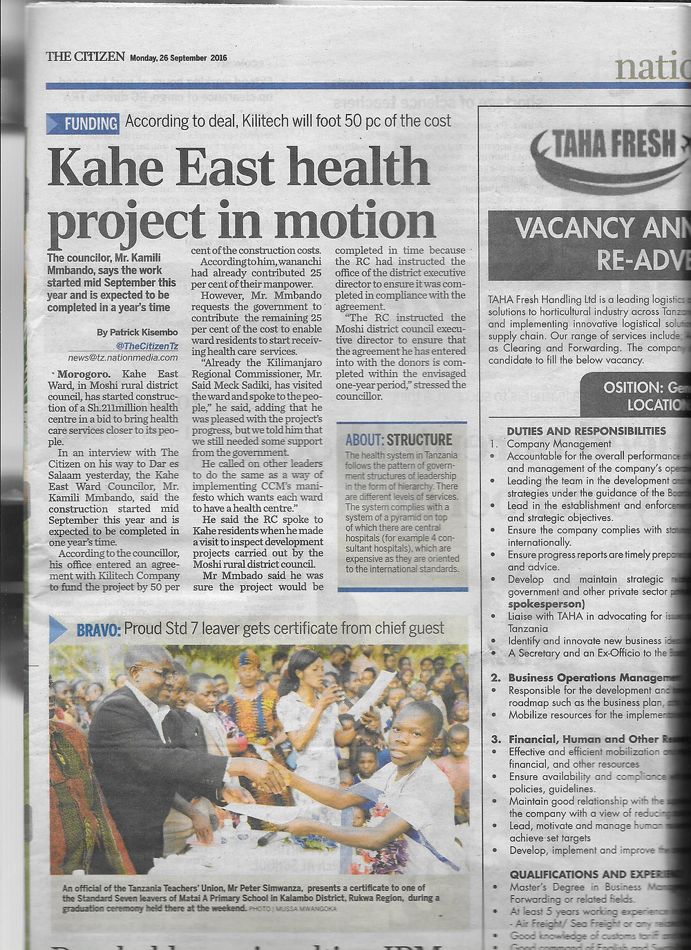 Article published 26 September in The Citizen, KiliTech building the health center