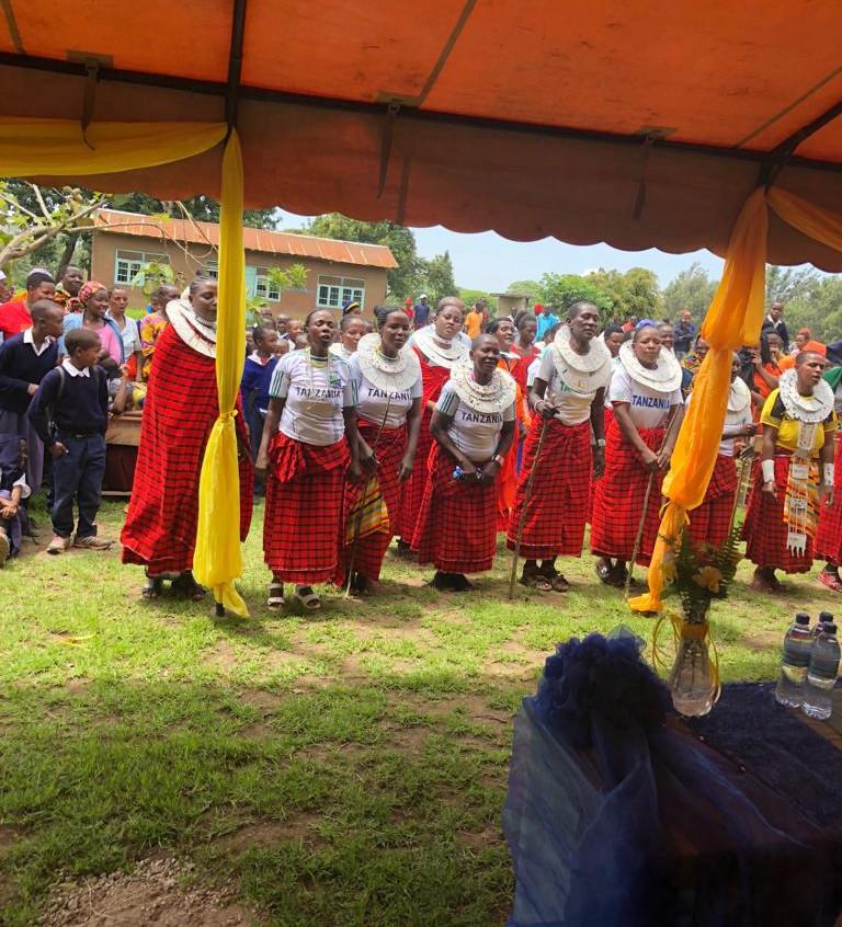 Maasai women performing