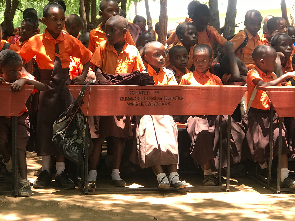 Desks donated by KiliTech to Mangi Sabas primary school in Kilimanjaro