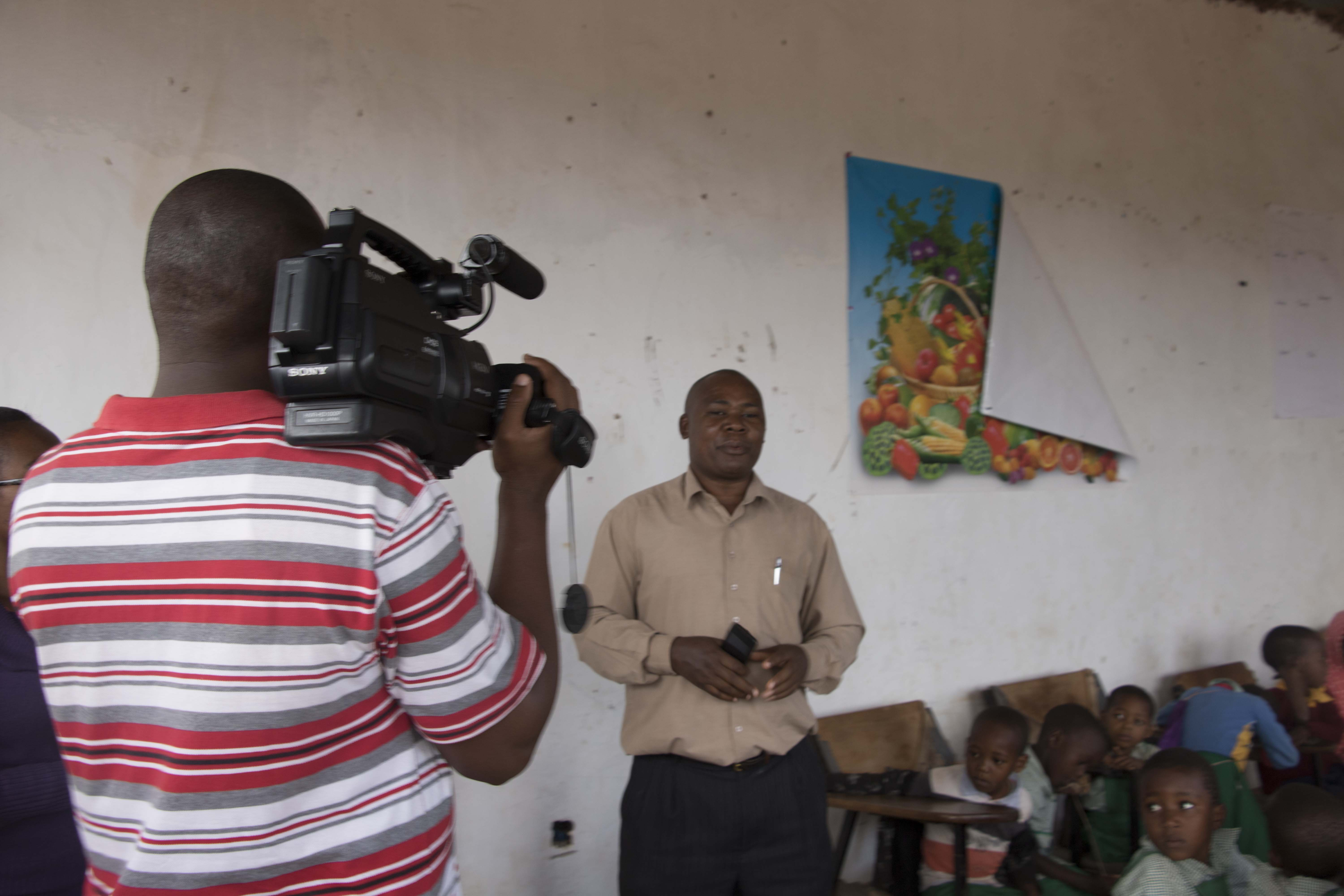 TV1 filming the classroom