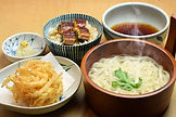 Dipping Style Kama age Udon,-Veggie Tempura and Mini Una Don