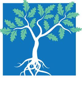 Johns Island Community Association logo: oak tree with roots
