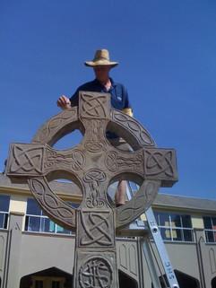 Celtic Cross Install - Sacred Heart Coll