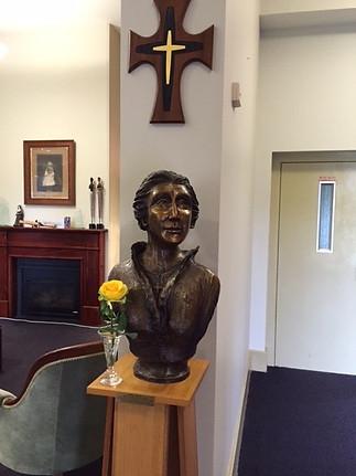 Catherine McAuley bust and Mercy Cross
