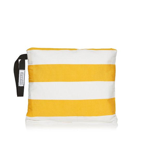 Χειροποίητη Τσάντα SquareW-White-Yellow Stripes
