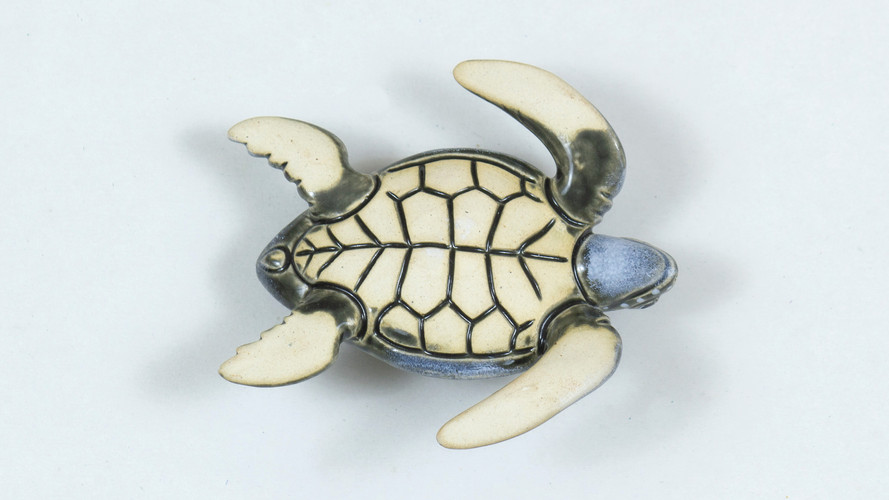 Leatherback Sea Turtle Ceramic Curio Bottom View