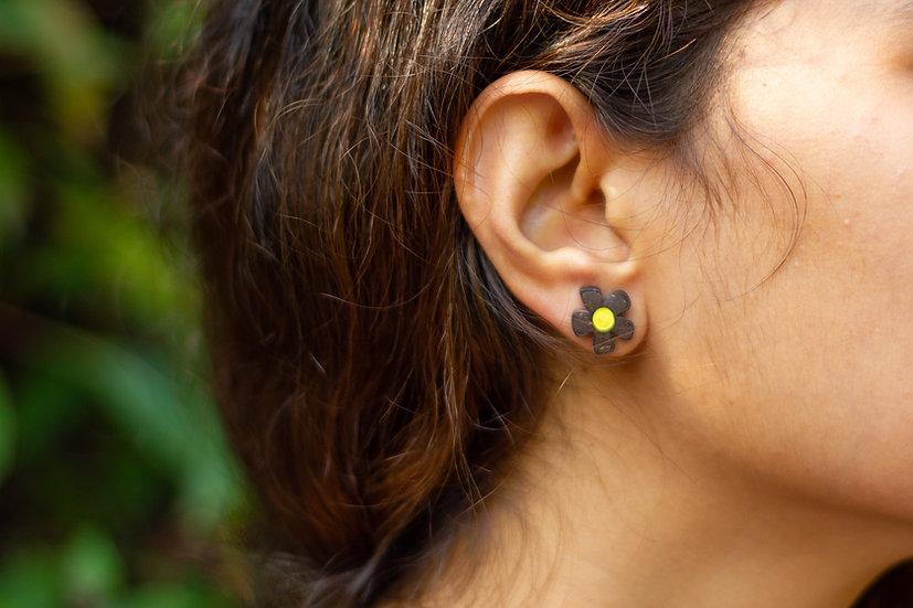 Flower-Pecker Coconut Shell Earrings