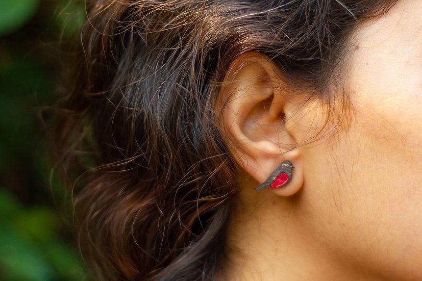 Fly-Catcher Coconut Shell Earrings