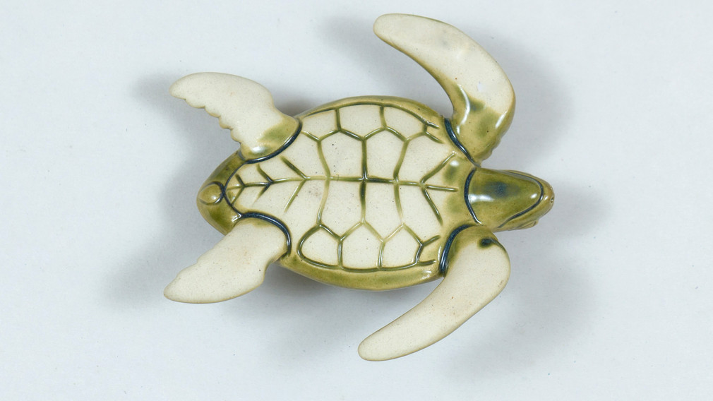 Leatherback Sea Turtle Ceramic Curio Green Bottom View