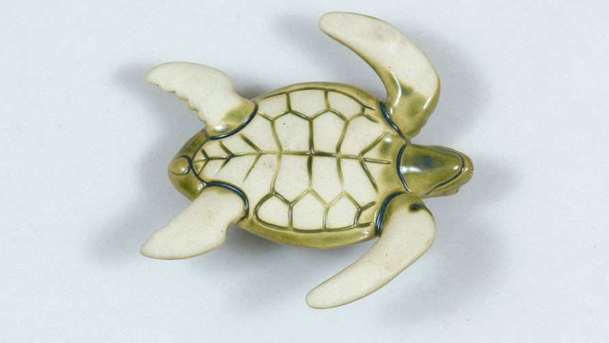 Leatherback Sea Turtle Ceramic Curio Green Bottom View