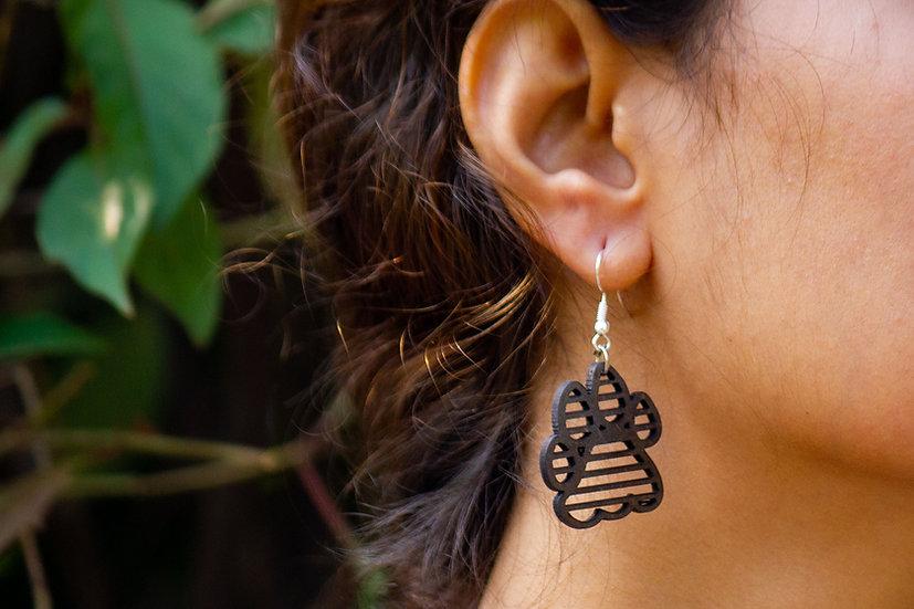 Tiger Pugmark Coconut Shell Earrings