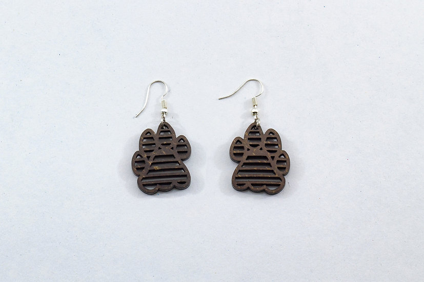 Tiger Pugmark Coconut Shell Earrings