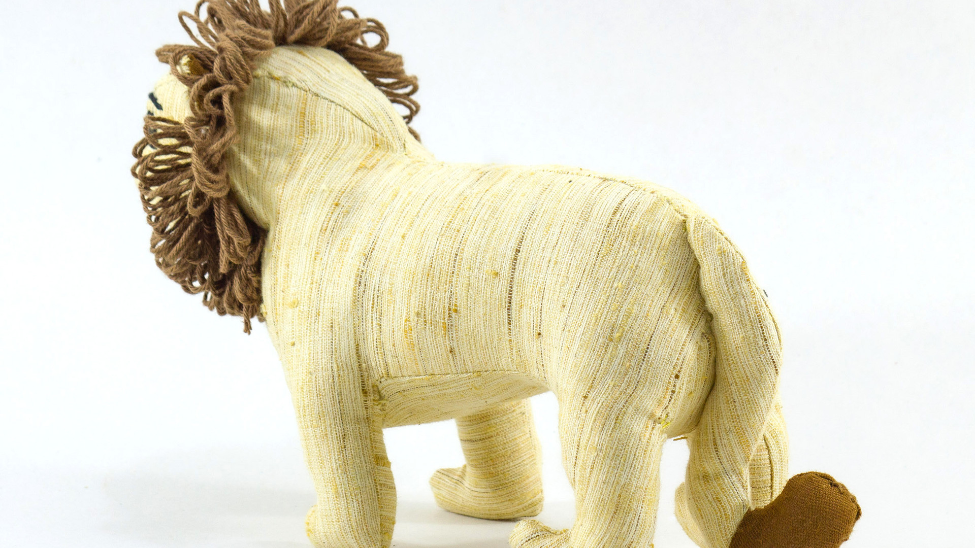Ashok, the Asiatic Lion Khadi Soft Toy rear 3 quarter view