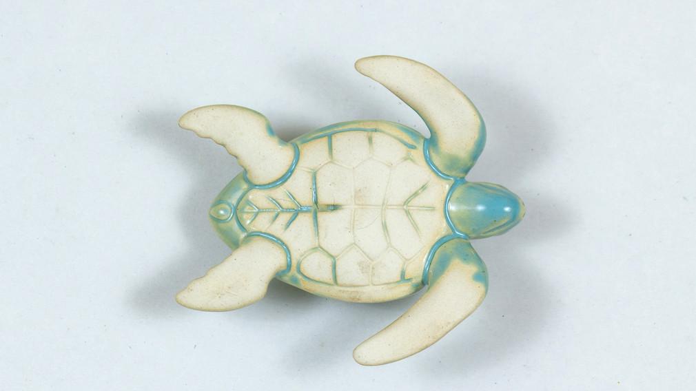 Leatherback Sea Turtle Ceramic Curio Powder Blue Bottom View