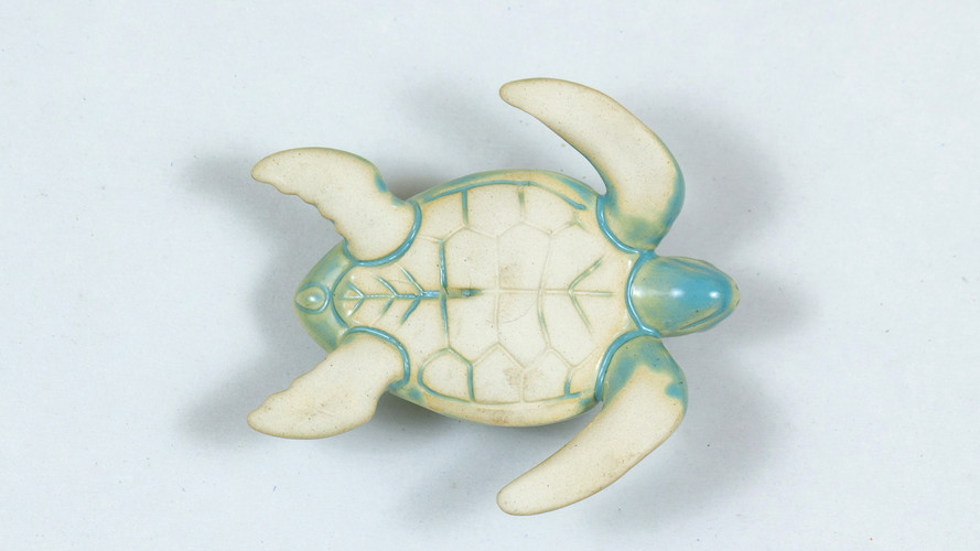 Leatherback Sea Turtle Ceramic Curio Powder Blue Bottom View