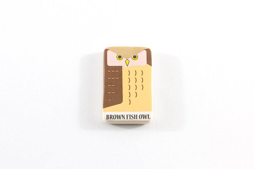 Brown Fish Owl Ceramic Magnet