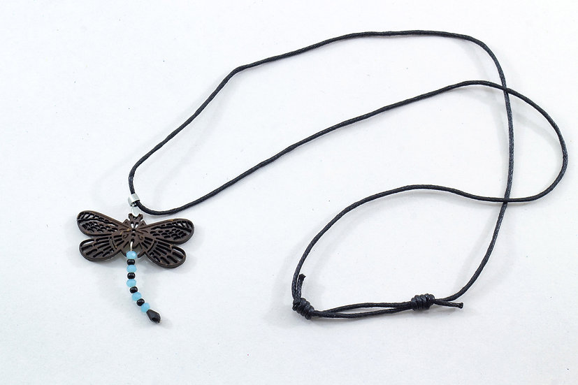 Dragonfly Coconut Shell Pendant