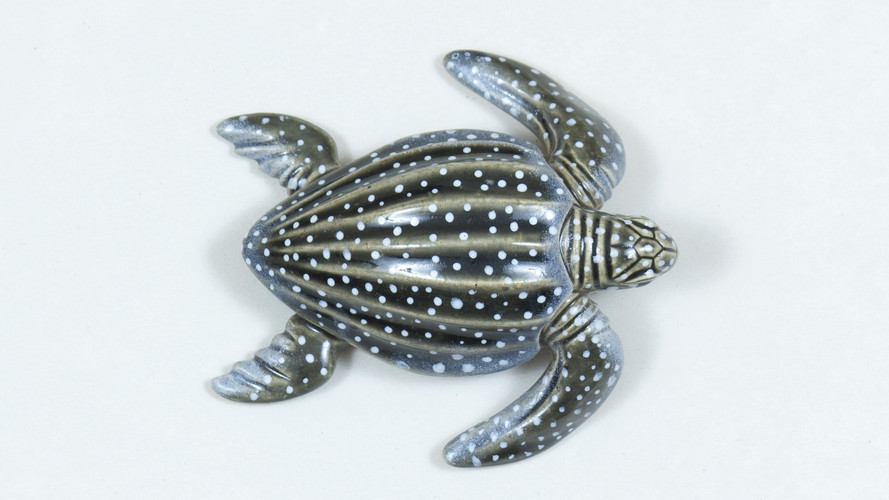 Leatherback Sea Turtle Ceramic Curio Top View