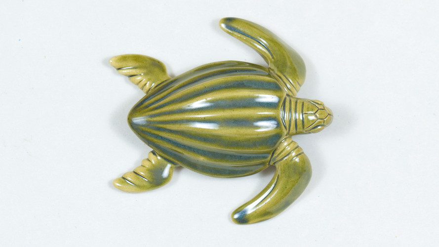 Leatherback Sea Turtle Ceramic Curio Green Top View