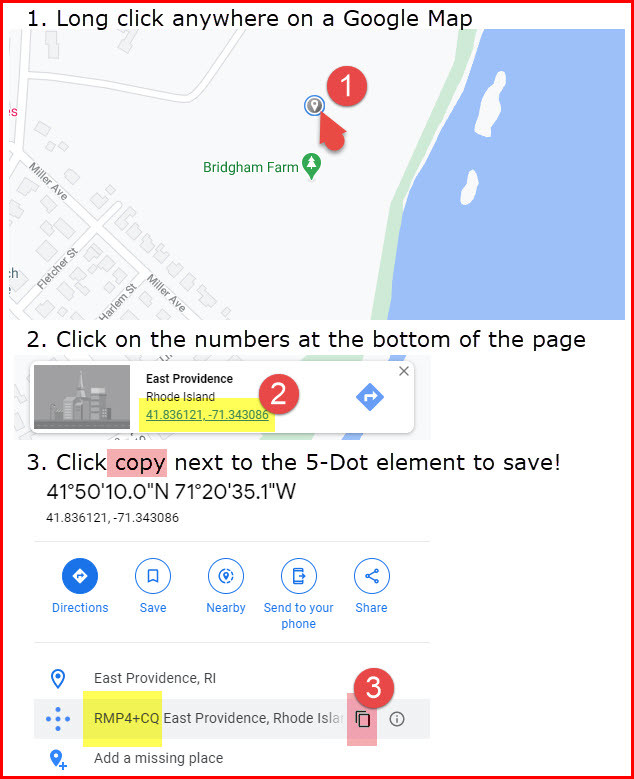 Illustrated 3-step directions for crating map plus codes on a personal computer