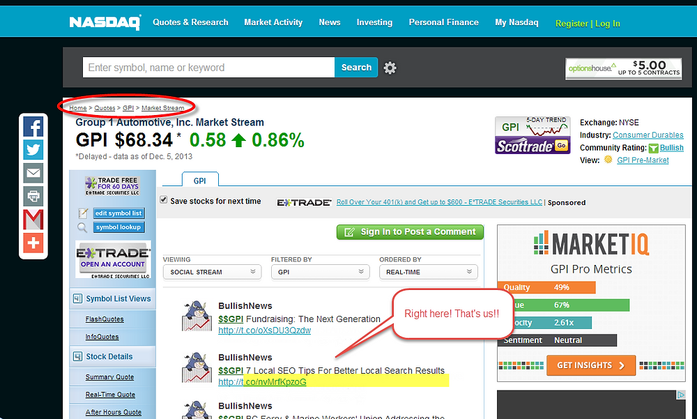 Screenshot of our appearance on the NASDAQ stock website news feed