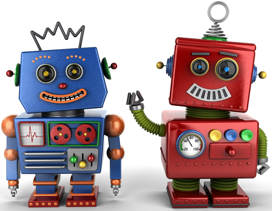 Cute robot couple - iconography for robots.txt tags