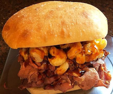 Five Pigs BBQ Pit Beef Mac Daddy Sandwich