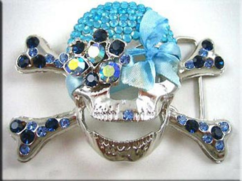 Ladies Rhinestone Skull Buckle