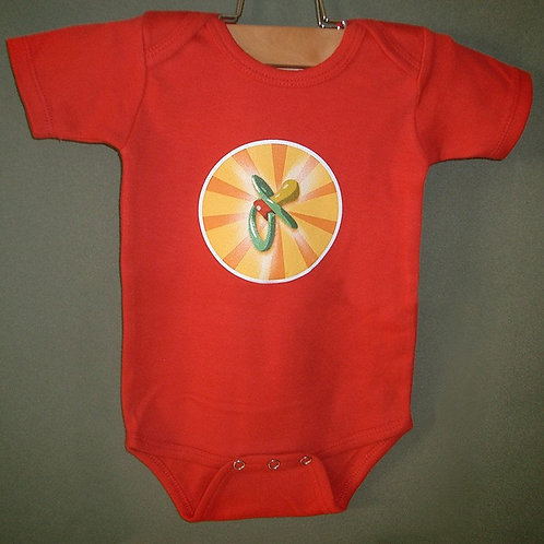 Pacifier Infant Red bodysuit onesie