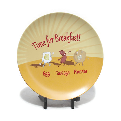 Breakfast Egg, Sausage, Pancake Melamine Plate