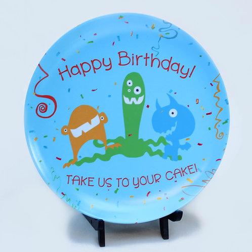 Happy Birthday Monsters Melamine Plate