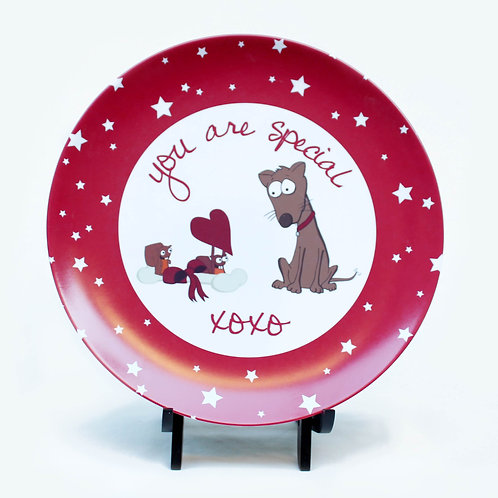 You are Special Squirrels and Dog Children's Plate xoxo Melamine Plate