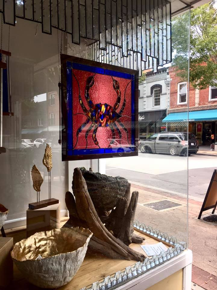 Stained Glass Crabtivating in Showroom w