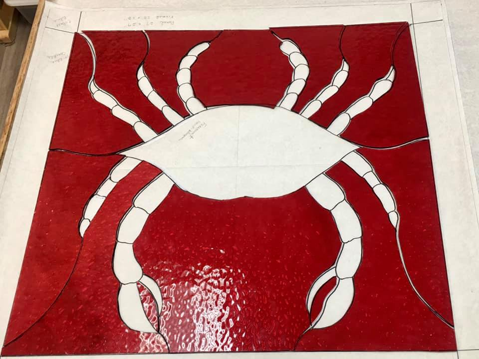 crab stained glasss cutting#3