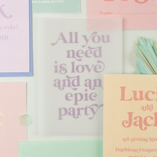 Multicolour pastel wedding stationery, invitation, save the date with palm tree design and modern retro typeface