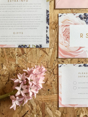 Blush pink floral wedding stationery, invitation, with feminine design. Perfect for a pretty spring or summer wedding.