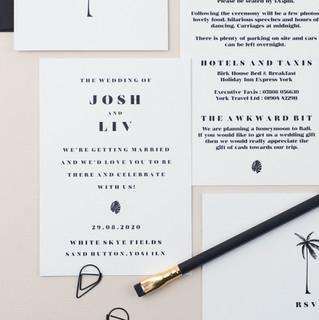 Modern, minimal, monochrome wedding stationery, invitation, save the date with palm tree design and vellum sleeve