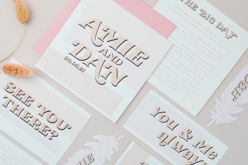 Cool, modern wedding stationery, invitation, save the date with minimal colour block design and neutral colour palette