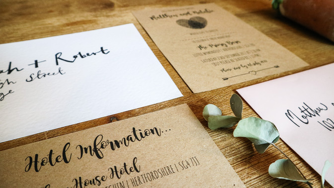 Rustic, sustainable wedding stationery, invitation, printed on recycled card with modern, elegant design.