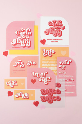 Fun, disco inspired wedding stationery, invitation, save the date with fun, retro font, curved edges and bespoke vellum insert