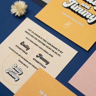 Retro woodstock inspired wedding stationery, invitation, save the date with retro font and festival inspired design
