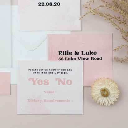 Modern, minimal wedding stationery, invitation, save the date in neutral blush pink colour scheme with palm leaf design and curved edges