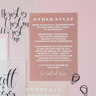 Blush pink, elegant, modern wedding stationery, invitation, save the date with vellum sleeve and black clasp
