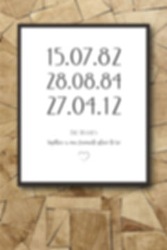bespoke family print with dates of birthdays