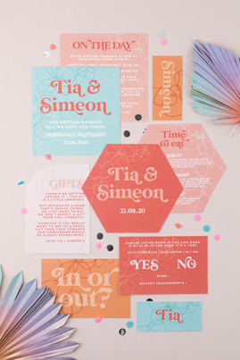 Fun, colourful wedding stationery, invitation, save the date with modern retro font and fun shaped card inserts